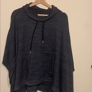 Athleta Gray Hooded Poncho Sweater